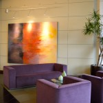 Evo Lofts Lobby with purple couch