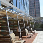 Lounge area cabanas at pool at 1100 Wilshire