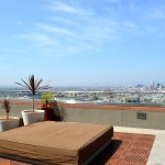 Lounge beds with nice views at 1100 Wilshire