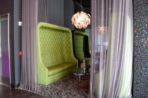 Watermarke lobby green sofa